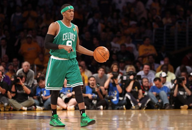 LOS ANGELES, CA - JUNE 17:  Rajon Rondo #9 of the Boston Celtics moves the ball while taking on the Los Angeles Lakers in Game Seven of the 2010 NBA Finals at Staples Center on June 17, 2010 in Los Angeles, California.  NOTE TO USER: User expressly acknow
