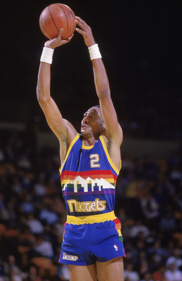 LOS ANGELES - 1986:  Alex English #2 of the Denver Nuggets shoots a jump shot during the game against the Los Angeles Lakers at the Great Western Forum in Los Angeles, California during the 1986-87 NBA season.  (Photo by: Stephen Dunn/Getty Images)