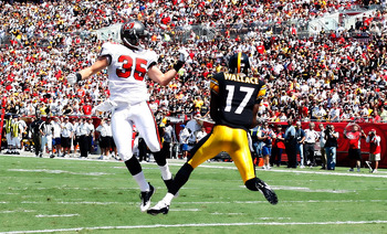 TAMPA, FL - SEPTEMBER 26:  Receiver Mike Wallace #17 of the Pittsburgh Steelers catches a touchdown pass in front of defender Cody Grimm #35 of the Tampa Bay Buccaneers during the game at Raymond James Stadium on September 26, 2010 in Tampa, Florida.  (Ph