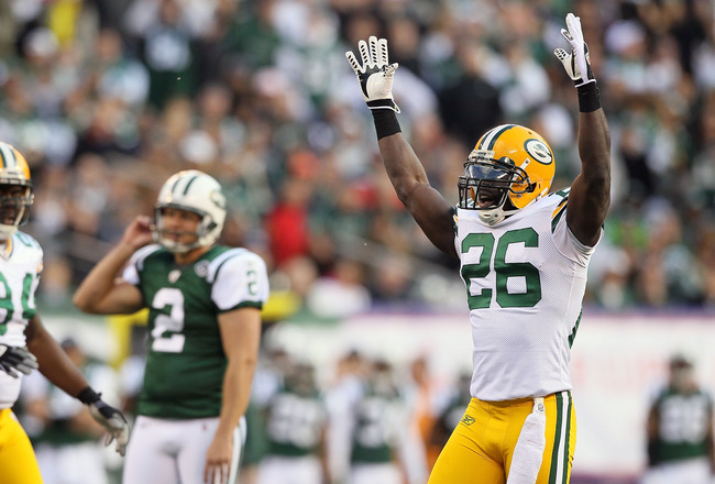 EAST RUTHERFORD, NJ - OCTOBER 31: Charlie Peprah #26 of the Green Bay Packers celebrates after Nick Folk #2 of the New York Jets missed a potential game tying field goal in the third quarter on October 31, 2010 at the New Meadowlands Stadium in East Ruthe