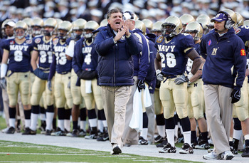 BALTIMORE - DECEMBER 01:  Head coach Paul Johnson of the Navy Midshipmen yells to his team against the Army Black Knights during the 108th Army v Navy football game on December 1, 2007 at M&T Bank Stadium in Baltimore, Maryland.  (Photo by Jim McIsaac/Get