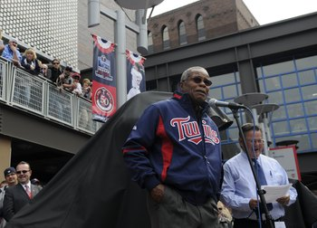 MINNEAPOLIS, MN - APRIL 12: Hall of Famer Rod Carew #29 of the Minnesota Twins speaks at the Kirby Puckett statue unveiling prior to a game between the Boston Red Sox and Minnesota Twins during the Twins home opener at Target Field on April 12, 2010 in Mi