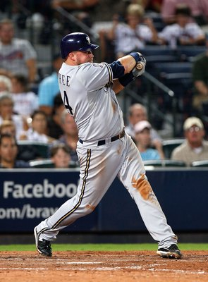 ATLANTA - JULY 15:  Casey McGehee #14 of the Milwaukee Brewers against the Atlanta Braves at Turner Field on July 15, 2010 in Atlanta, Georgia.  (Photo by Kevin C. Cox/Getty Images)