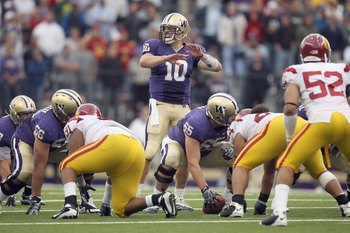 SEATTLE - SEPTEMBER 19:  Quarterback Jake Locker #10 of the Washington Huskies calls the play during the game against the USC Trojans on September 19, 2009 at Husky Stadium in Seattle, Washington. The Huskies defeated the Trojans 16-13. (Photo by Otto Gre