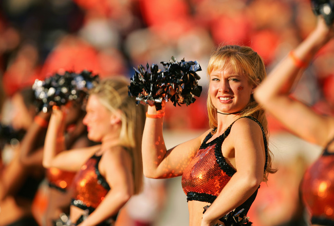 STILLWATER, OKLAHOMA - OCTOBER 16:  Cheerleaders perform during the game between the Texas A&M Aggies and Oklahoma State Cowboys at Boone Pickens Stadium on October 16, 2004 in Stillwater, Oklahoma. Texas A&M beat Oklahoma State 36-20. (Photo by Harry How