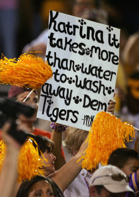 PHOENIX, AZ - SEPTEMBER 10:  Fans display a sign supporting the victims of Hurricane Katrina during the game between the Arizona State Sun Devils and the Louisiana State University Tigers at Sun Devil Stadium on September 10, 2005 in Phoenix, Arizona. The