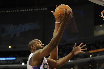 LOS ANGELES, CA - OCTOBER 27:  Baron Davis #5 of the Los Angeles Clippers heads in for a layup against the Portland Trail Blazers at Staples Center on October 27, 2010 in Los Angeles, California. NOTE TO USER: User expressly acknowledges and agrees that,