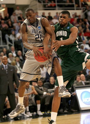 PROVIDENCE, RI - MARCH 18:  DeVaughn Washington #1 of the Ohio Bobcats presses Jason Clark #21 of the Georgetown Hoyas during the first round of the 2010 NCAA men's basketball tournament at Dunkin' Donuts Center on March 18, 2010 in Providence, Rhode Isla