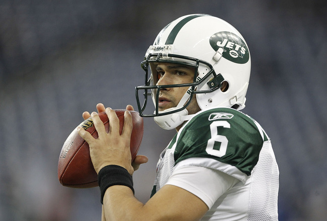 DETROIT - NOVEMBER 07:  Mark Sanchez #6 of the New York Jets warms up prior to the start of the game against the Detroit Lions at Ford Field on November 7, 2010 in Detroit, Michigan.  (Photo by Leon Halip/Getty Images)