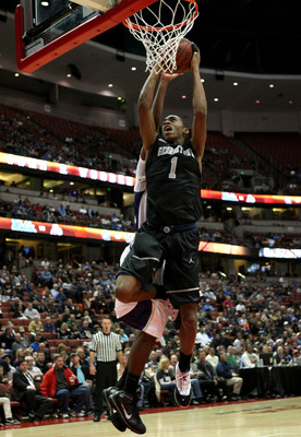 ANAHEIM, CA - DECEMBER 12: Hollis Thompson #1 of the Georgetown Hoyas goes up for a shot against the Washington Huskies in the John Wooden Classic on December 12, 2009 at the Honda Center in Anaheim, California. (Photo by Stephen Dunn/ Getty Images)