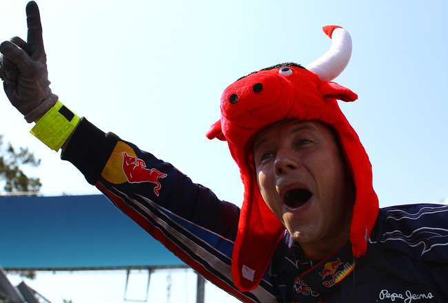 SAO PAULO, BRAZIL - NOVEMBER 07:  Red Bull Racing team members react after securing the Constructor's Championship during the Brazilian Formula One Grand Prix at the Interlagos Circuit on November 7, 2010 in Sao Paulo, Brazil.  (Photo by Vladimir Rys/Gett