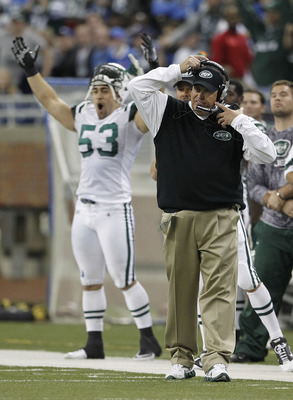 DETROIT - NOVEMBER 07: Head coach Rex Ryan and Josh Mauga #53 of the New York Jets celebrate a 23-20 ovetime win over the Detroit Lions at Ford Field on November 7, 2010 in Detroit, Michigan. The Jets defeated the Lions 23-20 in overtime.  (Photo by Leon