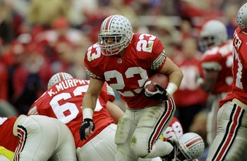 21 Nov 1998:  Fullback Matt Keller #23 of the Ohio State Buckeyes in action during the game against the Michigan Wolverines at the Ohio Stadium in Columbus, Ohio. The Buckeyes defeated the Wolverines 31-16. Mandatory Credit: Rick Stewart  /Allsport