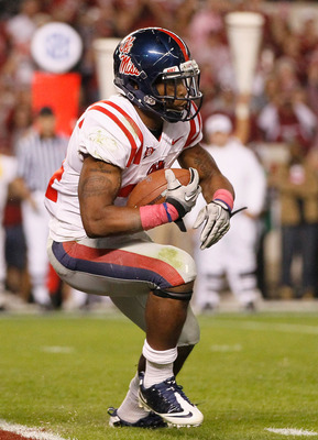 TUSCALOOSA, AL - OCTOBER 16:  Brandon Bolden #34 of the Ole Miss Rebels against the Alabama Crimson Tide at Bryant-Denny Stadium on October 16, 2010 in Tuscaloosa, Alabama.  (Photo by Kevin C. Cox/Getty Images)