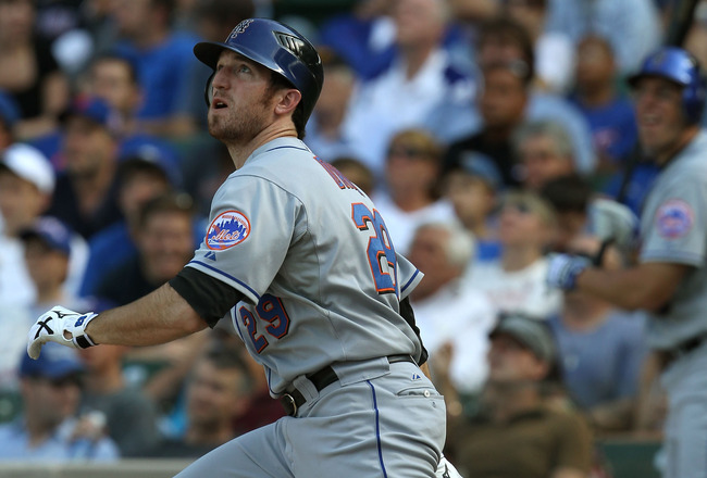 CHICAGO - SEPTEMBER 05: Ike Davis #29 of the New York Mets watches the flight of his two run home run in the 8th inning against the Chicago Cubs at Wrigley Field on September 5, 2010 in Chicago, Illinois. (Photo by Jonathan Daniel/Getty Images)