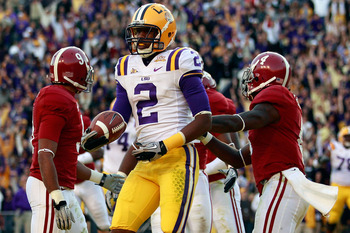 BATON ROUGE, LA - NOVEMBER 06:  Rueben Randle #2 of the Louisiana State University Tigers celebrates after scoring on a two point conversion against the Alabama Crimson Tide at Tiger Stadium on November 6, 2010 in Baton Rouge, Louisiana. The Tigers defeat