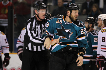SAN JOSE, CA - MAY 18:  Ryane Clowe #29 of the San Jose Sharks is taken out of the game after receiving a 10-minute misconduct penalty late in the third period against the Chicago Blackhawks in Game Two of the Western Conference Finals during the 2010 NHL