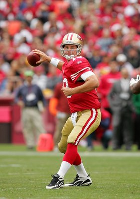 Shaun Hill Completes A Pass For The 49ers