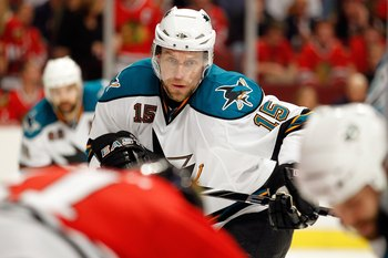 CHICAGO - MAY 21:  Dany Heatley #15 of the San Jose Sharks readies for a face off while taking on the Chicago Blackhawks in Game Three of the Western Conference Finals during the 2010 NHL Stanley Cup Playoffs at the United Center on May 21, 2010 in Chicag