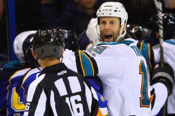 ST. LOUIS - NOVEMBER 4: Joe Thornton #19 of the San Jose Sharks questions the linesman's call during the game against the St. Louis Blues at the Scottrade Center on November 4, 2010 in St. Louis, Missouri.  (Photo by Dilip Vishwanat/Getty Images)
