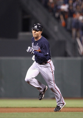SAN FRANCISCO - OCTOBER 08:  Rick Ankiel #28 of the Atlanta Braves rounds the bases after he hit a home run in the 11th inning of their game against the San Francisco Giants in game 2 of the NLDS at AT&T Park on October 8, 2010 in San Francisco, Californi