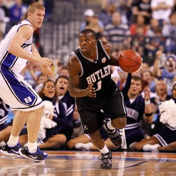 INDIANAPOLIS - APRIL 05:  Shelvin Mack #1 of the Butler Bulldogs brings the ball up court against the Duke Blue Devils during the 2010 NCAA Division I Men's Basketball National Championship game at Lucas Oil Stadium on April 5, 2010 in Indianapolis, India
