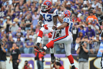 BALTIMORE, MD - OCTOBER 24:  Steve Johnson #13 and Lee Evans #83 of the Buffalo Bills celebrate Lee's touchdown against the Baltimore Ravens at M&T Bank Stadium on October 24, 2010 in Baltimore, Maryland. The Ravens defeated the Bills 37-34. (Photo by Lar