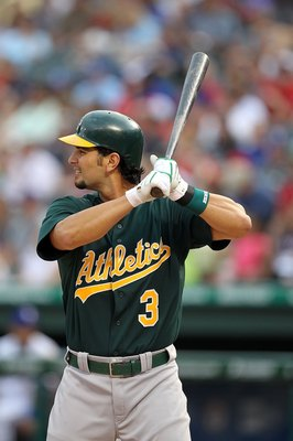 ARLINGTON, TX - MAY 11:  Eric Chavez #3 of the Oakland Athletics on May 11, 2010 at Rangers Ballpark in Arlington, Texas.  (Photo by Ronald Martinez/Getty Images)