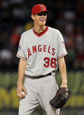 ARLINGTON, TX - OCTOBER 01:  Pitcher Jered Weaver #36 of the Los Angeles Angels of Anaheim reacts after called for a balk against the Texas Rangers at Rangers Ballpark in Arlington on October 1, 2010 in Arlington, Texas.  (Photo by Ronald Martinez/Getty I