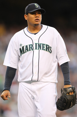 SEATTLE - JULY 10:  Starting pitcher Felix Hernandez #34 of the Seattle Mariners walks to the dugout during the game against the New York Yankees at Safeco Field on July 10, 2010 in Seattle, Washington. (Photo by Otto Greule Jr/Getty Images)