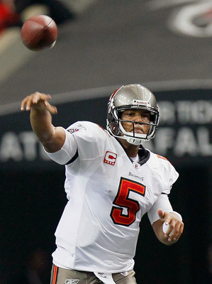 ATLANTA - NOVEMBER 07:  Quarterback Josh Freeman #5 of the Tampa Bay Buccaneers passes against the Atlanta Falcons at Georgia Dome on November 7, 2010 in Atlanta, Georgia.  (Photo by Kevin C. Cox/Getty Images)