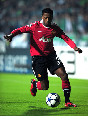 BURSA, TURKEY - NOVEMBER 02:  Patrice Evra of Manchester United in action during the UEFA Champions League Group C match between Bursapor Kulubu and Manchester United at the Bursa Ataturk Stadium on November 2, 2010 in Bursa, Turkey.  (Photo by Shaun Bott