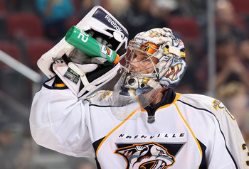 GLENDALE, AZ - NOVEMBER 03:  Goaltender Pekka Rinne #35 of the Nashville Predators drinks water from a gatorade bottle during the NHL game against the Phoenix Coyotes at Jobing.com Arena on November 3, 2010 in Glendale, Arizona.  The Coyotes defeated the