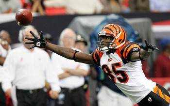 ATLANTA - OCTOBER 24:  Chad Ochocinco #85 of the Cincinnati Bengals fails to pull in this reception against the Atlanta Falcons at Georgia Dome on October 24, 2010 in Atlanta, Georgia.  (Photo by Kevin C. Cox/Getty Images)
