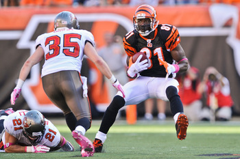 CINCINNATI, OH - OCTOBER 10: Terrell Owens #81 of the Cincinnati Bengals runs with the ball against the Tampa Bay Buccaneers at Paul Brown Stadium on October 10, 2010 in Cincinnati, Ohio. (Photo by Jamie Sabau/Getty Images)