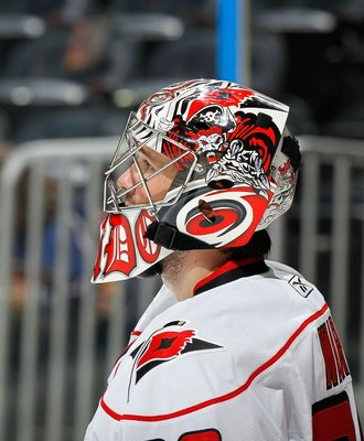 ATLANTA - MARCH 29:  Goaltender Cam Ward #30 of the Carolina Hurricanes against the Atlanta Thrashers at Philips Arena on March 29, 2010 in Atlanta, Georgia.  (Photo by Kevin C. Cox/Getty Images)
