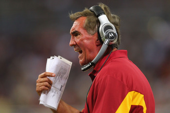 ST. LOUIS - SEPTEMBER 26: Head coach Mike Shanahan of the Washington Redskins yells at an official against the St. Louis Rams at the Edward Jones Dome on September 26, 2010 in St. Louis, Missouri.  The Rams beat the Redskins 30-16.  (Photo by Dilip Vishwa