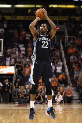 PHOENIX - NOVEMBER 05:  Rudy Gay #22 of the Memphis Grizzlies attempts a three point shot against the Phoenix Suns during the NBA game at US Airways Center on November 5, 2010 in Phoenix, Arizona. The Suns defeated the Grizzlies 123-118 in double overtime