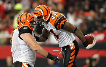 ATLANTA - OCTOBER 24:  Terrell Owens #81 of the Cincinnati Bengals celebrates his touchdown against the Atlanta Falcons with Andrew Whitworth #77 at Georgia Dome on October 24, 2010 in Atlanta, Georgia.  (Photo by Kevin C. Cox/Getty Images)