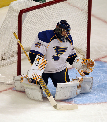 CHICAGO - OCTOBER 18: Jaroslav Halak #41 of the St. Louis Blues stops a shot against the Chicago Blackhawks at the United Center on October 18, 2010 in Chicago, Illinois. The Blackhawks defeated the Blues 3-2 in overtime. (Photo by Jonathan Daniel/Getty I