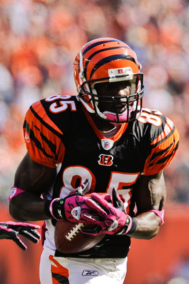 CINCINNATI, OH - OCTOBER 10: Chad Ochocinco #85 of the Cincinnati Bengals makes a reception against the Tampa Bay Buccaneers at Paul Brown Stadium on October 10, 2010 in Cincinnati, Ohio. (Photo by Jamie Sabau/Getty Images)