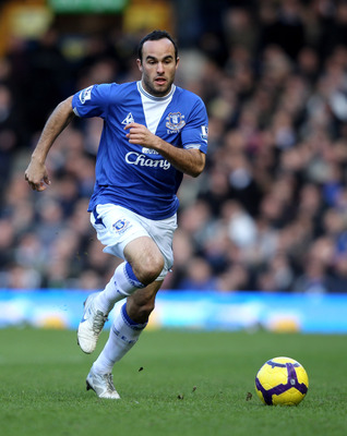 LIVERPOOL, ENGLAND - FEBRUARY 20:  Landon Donovan of Everton during the Barclays Premiership match between Everton and Manchester United at Goodison Park on February 20, 2010 in Liverpool, England.  (Photo by Ross Kinnaird/Getty Images)