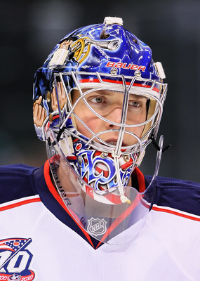 ST PAUL, MN - OCTOBER 16:  Goaltender Steve Mason #1 of the Columbus Blue Jackets looks on prior to the start of the game against the Minnesota Wild at Xcel Energy Center on October 16, 2010 in St Paul, Minnesota.  (Photo by Jeff Gross/Getty Images)