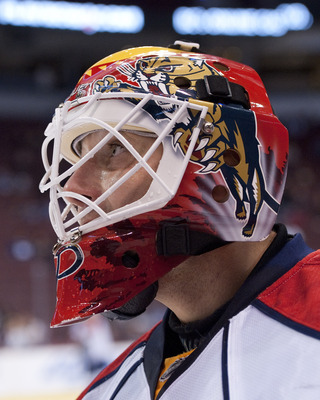 VANCOUVER, CANADA - OCTOBER 11: Goalie Tomas Vokoun #29 of the Florida Panthers watches his teammates during the pre-game warm up prior to NHL action against the Vancouver Canucks on October 11, 2010 at Rogers Arena in Vancouver, British Columbia, Canada.