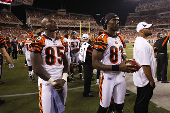 CINCINNATI, OH - AUGUST 15: Terrell Owens #81 and Chad Ochocinco #85 of the Cincinnati Bengals look on during the preseason game against the Denver Broncos at Paul Brown Stadium on August 15, 2010 in Cincinnati, Ohio. The Bengals won 33-24. (Photo by Joe