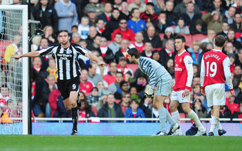 LONDON, ENGLAND - NOVEMBER 07:  Andy Carroll of Newcastle wheels away after scoring during the Barclays Premier League match between Arsenal and Newcastle United at the Emirates Stadium on November 7, 2010 in London, England.  (Photo by Mike Hewitt/Getty