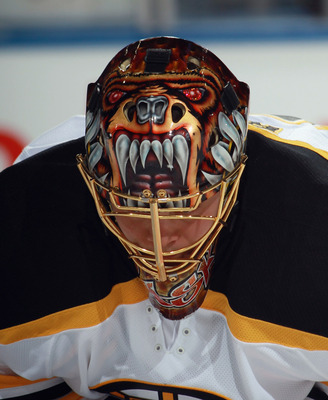 BUFFALO, NY - NOVEMBER 03:  Tuukka Rask #40 of the Boston Bruins skates during warmups prior to the game against the Buffalo Sabres at the HSBC Arena on November 3, 2010 in Buffalo, New York. The Bruins defeated the Sabres 5-2.  (Photo by Bruce Bennett/Ge