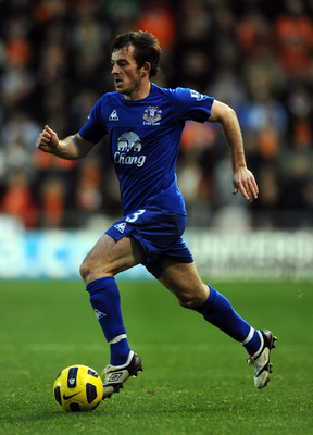 BLACKPOOL, ENGLAND - NOVEMBER 06:  Leighton Baines of Everton during the Barclays Premier League match between Blackpool and Everton at Bloomfield Road on November 6, 2010 in Blackpool, England.  (Photo by Chris Brunskill/Getty Images)