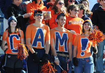 AUBURN, AL - NOVEMBER 6:  Fans of the Auburn Tigers show support for quarterback Cam Newton #2 during play against the Chattanooga Mocs November 6, 2010 at Jordan-Hare Stadium in Auburn, Alabama.  (Photo by Al Messerschmidt/Getty Images)
