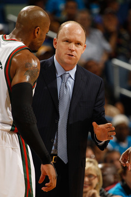 NEW ORLEANS - OCTOBER 27:  Head coach Scott Skiles of the Milwaukee Bucks talks with his team during a timeout during the game against the New Orleans Hornets at the New Orleans Arena on October 27, 2010 in New Orleans, Louisiana.   The Hornets defeated t